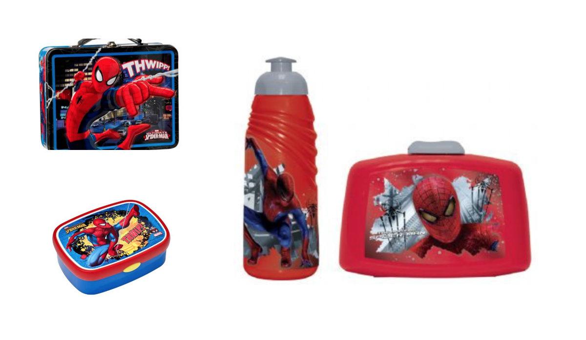 spiderman madkasse, spiderman madkasser, spiderman madkasse med håndtag, spiderman madkassesæt, spiderman drikkeflaske, spiderman drikkedunk, spiderman skoleudstyr, klar til skolestart