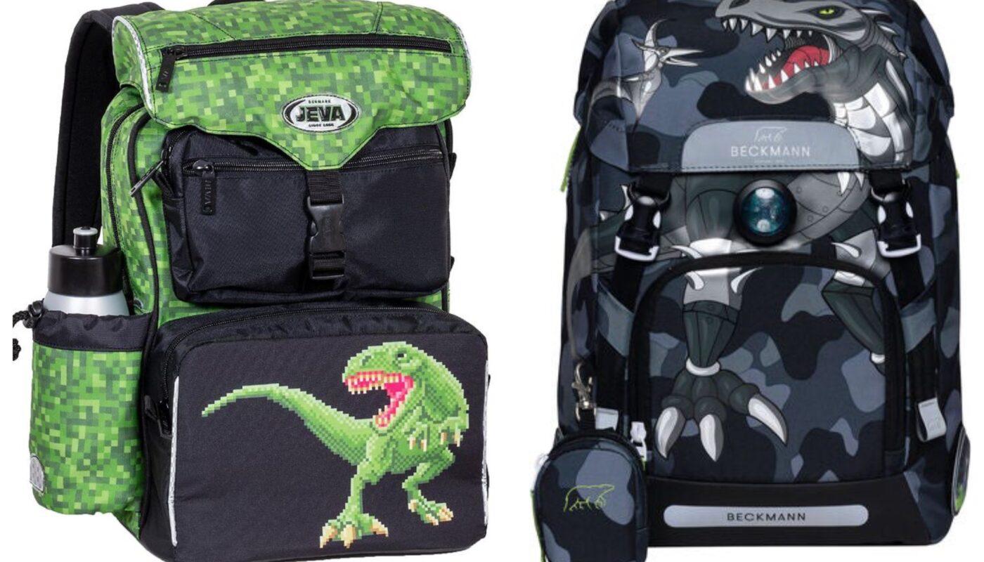 dino skoletaske dinosaurus skoletaske med dinosaur jeva t-rex skoletaske jeva intermediate t-rex skoletaske beckmann roborex skoletaske blå skoletaske med dinosaur