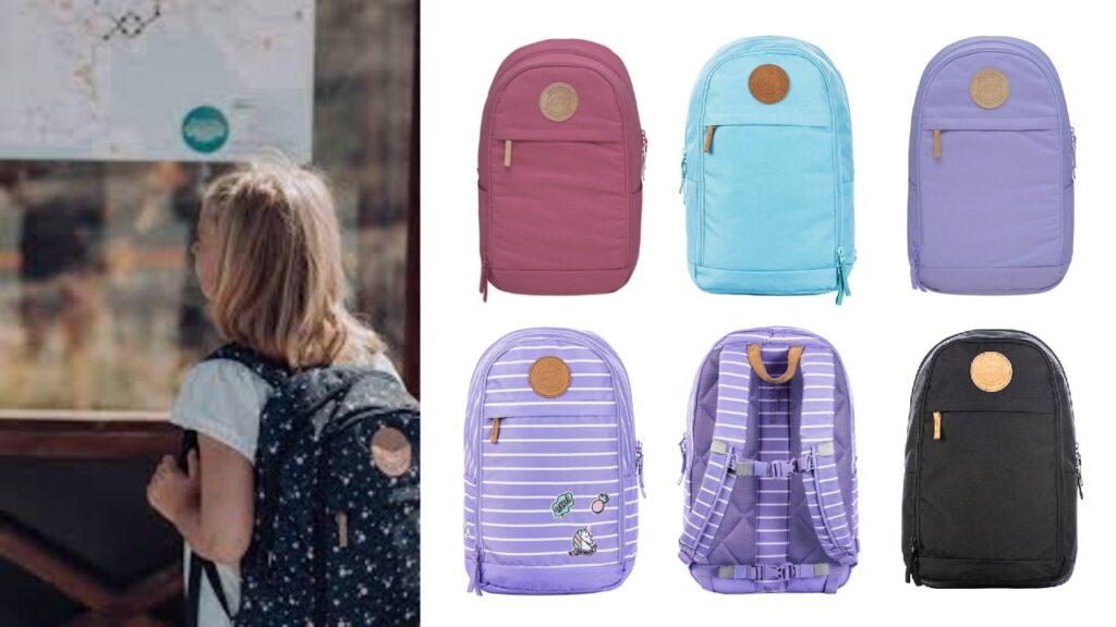 urban midi skoletaske til 2 klasse lilla skoletaske lilla rygsæk norsk skoletaske med læderrem skandinavisk design skoletaske sort skoletaske rosa skoletaske