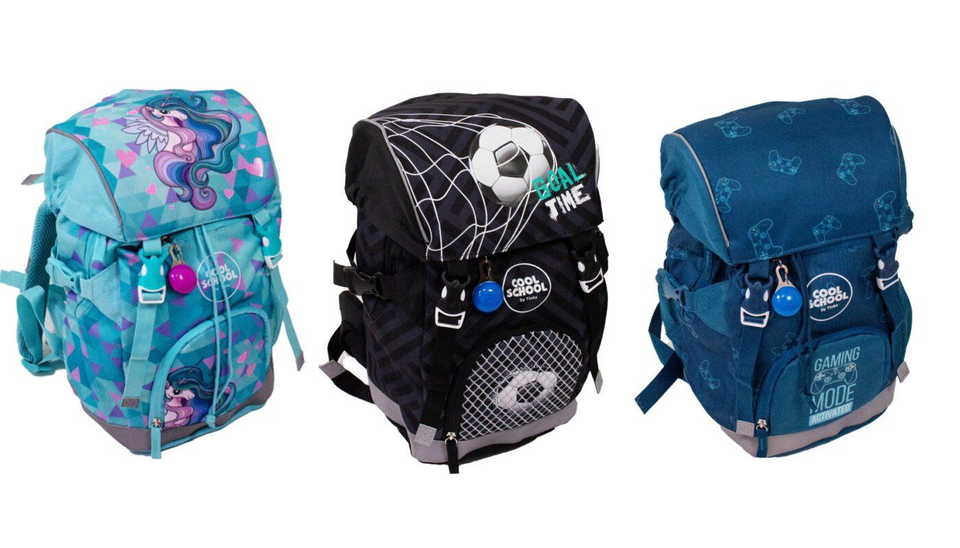 Tinka skoletasker til de første skoleår, tinka skoletasker til drenge, tinka skoletasker til piger, begynder skoletasker til drenge 2021, begynder skoletasker til piger 2021, fodbold skoletaske, begynder skoletaske med fodbold motiv, unicorn skoletasker til skolestart